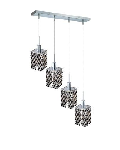 Elegant Lighting Mini Crystal Collection 4-Light Square Pendant Lamp, Jet