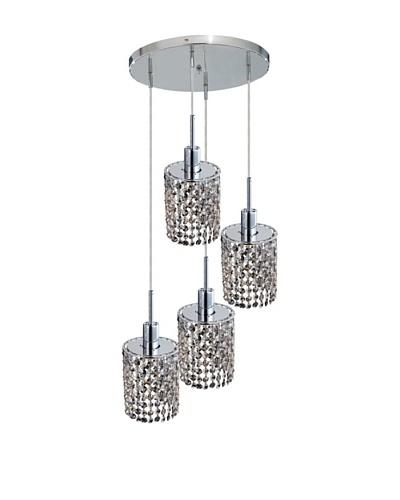 Elegant Lighting Mini Crystal Collection 4-Light Round Pendant Lamp, Golden Teak