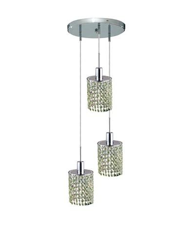 Elegant Lighting Mini Crystal Collection 3-Light Round Pendant Lamp, Light Peridot