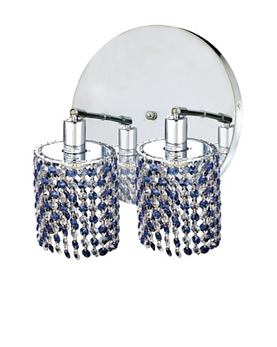 Elegant Lighting Mini Crystal Collection 2-Light Round Wall Sconce, Sapphire