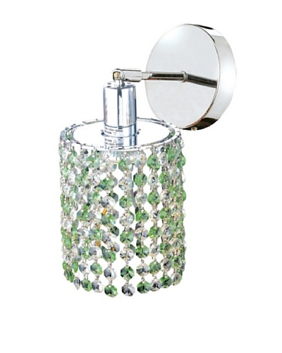 Elegant Lighting Mini Crystal Collection Round Wall Sconce, Light Peridot
