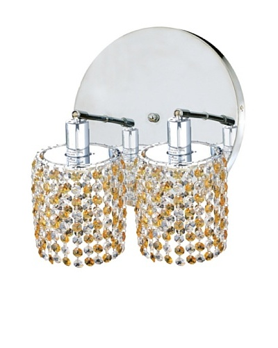 Elegant Lighting Mini Crystal Collection 2-Light Round Wall Sconce, Light Topaz