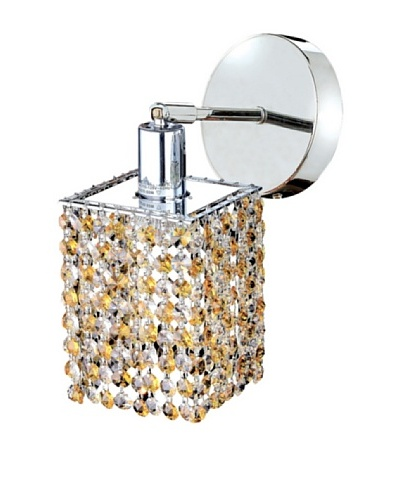 Elegant Lighting Mini Crystal Collection Square Wall Sconce, Light Topaz