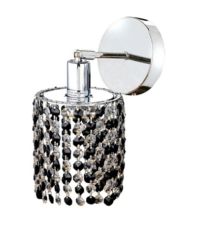 Elegant Lighting Mini Crystal Collection Round Wall Sconce, Jet