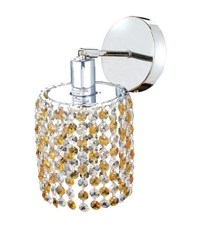 Elegant Lighting Mini Crystal Collection Round Wall Sconce, Light Topaz
