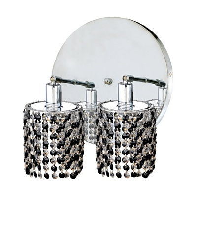 Elegant Lighting Mini Crystal Collection 2-Light Round Wall Sconce, Jet