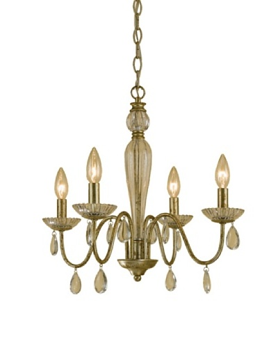 AF Lighting 7004-4H Judy Candle Base Mini Chandelier, Soft Gold with Glass Candle Cups