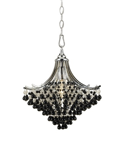 AF Lighting 7491-1H Spellbound 1 x 60-Watt Light Edison Base Pendant, Chrome with Clear and Black Gl...