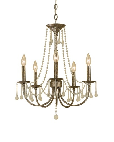 AF Lighting 7006-5H Tracee Candle Base Mini Chandelier, Golden Tortoise with Glass Accents
