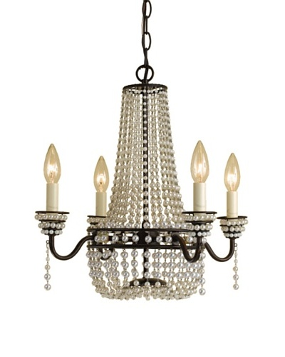 AF Lighting Parlor Candle Base Mini Chandelier [Oil Rubbed Bronze with White Faux Beads]