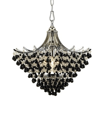 AF Lighting 7492-3H Spellbound 3 x 60-Watt Light Edison Base Pendant, Chrome with Clear and Black Gl...