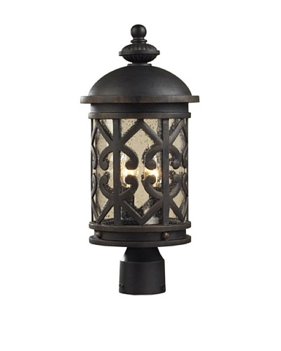 Elk 42064/2 2-Light Post Light In Weathered Charcoal And Clear Seeded Glass