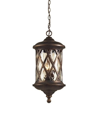 Elk 42033/3 3-Light Outdoor Pendant In Hazelnut Bronze and Designer Water Glass
