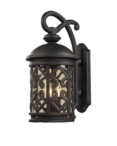 Elk 42061/2 2-Light Outdoor Sconce In Weathered Charcoal And Clear Seeded Glass