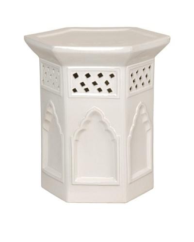 Emissary Moroccan Hexagon Stool, White