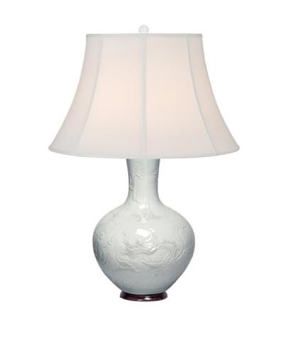 Emissary White Engraved Dragon Lamp