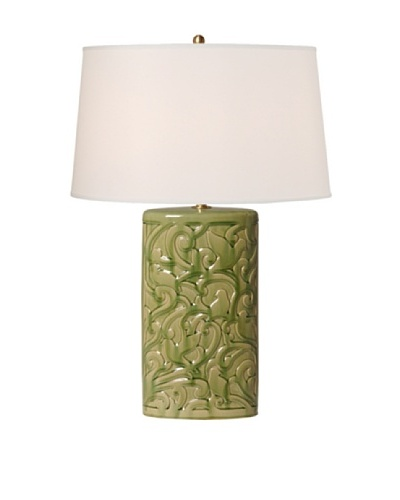 Emissary Ceramic Bird Lattice Oval Vase Lamp