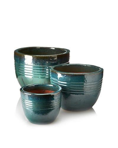 Emissary Set of 3 Small Round Pots [Teal]
