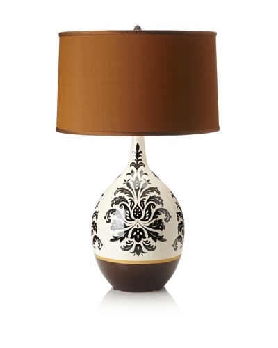 Emissary Lighting Design Vase Lamp, Off-White/Black/Brown