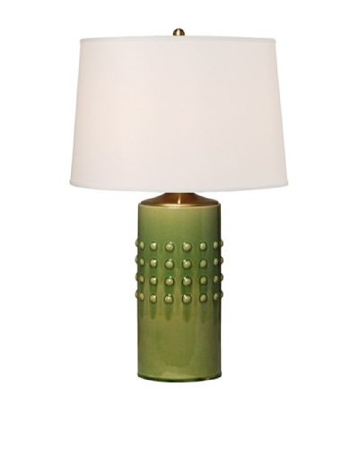 Emissary Lighting Studded Round Vase Table Lamp [Dark Moss]