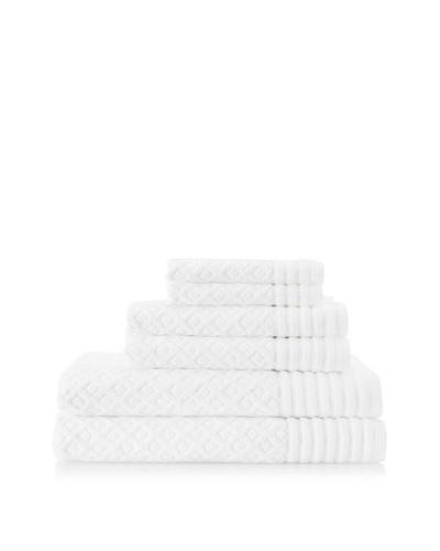 Espalma Diamonds 6-Piece Towel Set, White