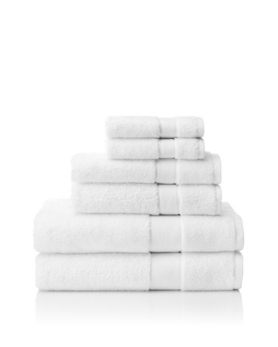 Espalma 6-Piece Signature Bath Towel Set, White