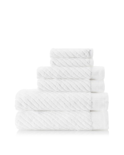 Espalma Sensational Diagnol 6-Piece Towel Set , White