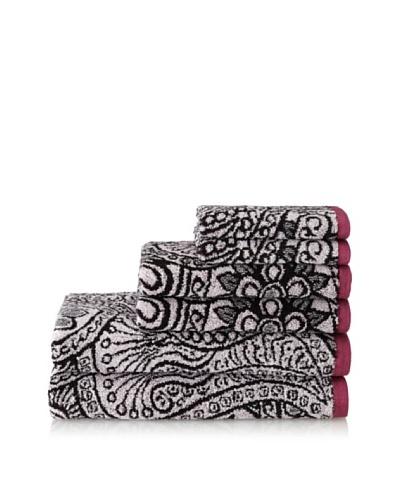 Espalma Peacock 6-Piece Towel Set, Mauve/Black