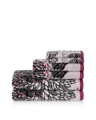 Espalma Butterfly 6-Piece Towel Set, Mauve/Black