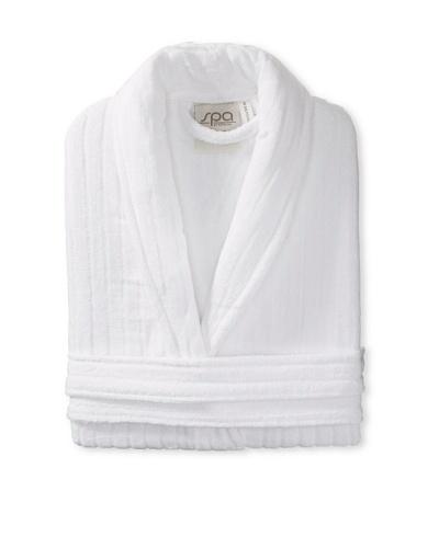 Esplama Rib Shawl Collar Robe, White