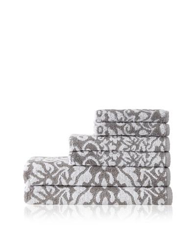 Esplama 6-Piece Garden Scroll Towel Set, Grey/White