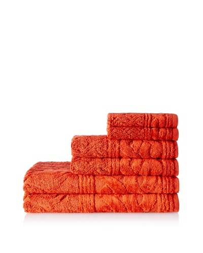 Esplama 6-Piece Chainlinks Towel Set, Paprika