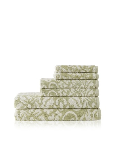 Esplama 6-Piece Garden Scroll Towel Set, Sage/Ecru