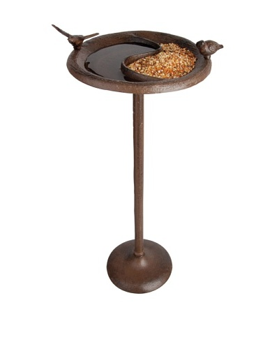 Esschert Design USA Birdbath & Feeder on Stand, Antique Brown