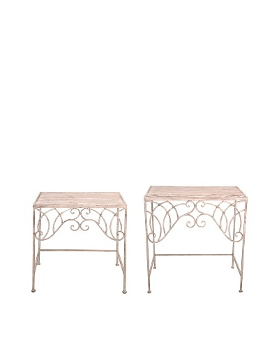 Esschert Design USA Set of 2 Tall Aged Metal Side Tables