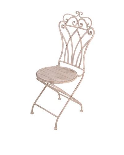 Esschert Design USA Aged Metal Folding Curved-Back Bistro Chair
