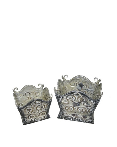 Set of 2 Metal Planters, Smoked Cream
