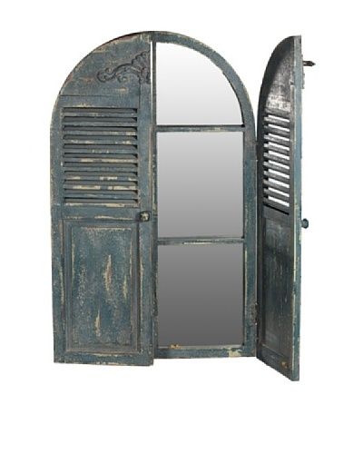 Wooden Mirror with Shutters