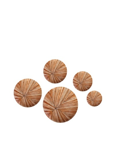 Eunique Set of 5 Buga Wall Decor Buttons, Tan