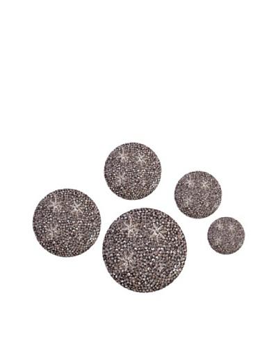 Eunique Set of 5 Itali Wall Decor Buttons, Black/Gray/White