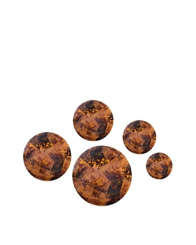 Eunique Set of 5 Lunsar Buttons, Brown/Tan
