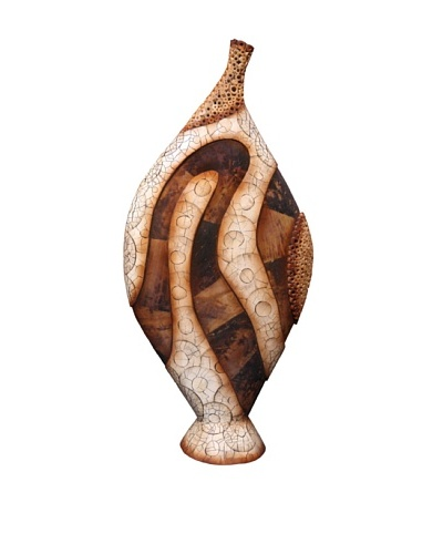 eUnique Home 59 Sekani Floor Vase, Tan/Brown