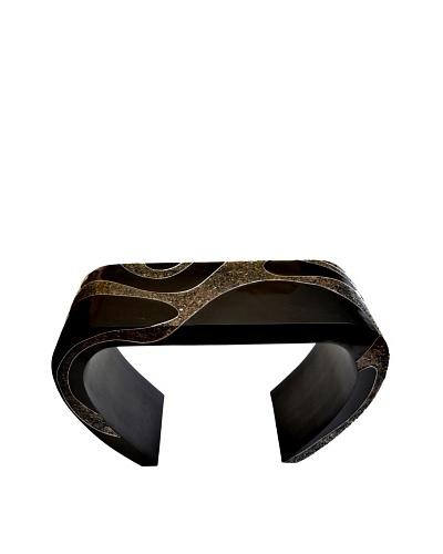 eUnique Home Mandan Black Console Table Glass Top, Black