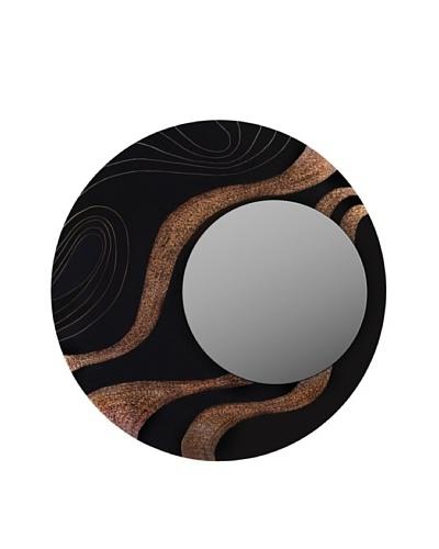 eUnique Home Elephant Grass Mirror, Black/Gold