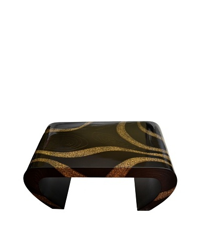 eUnique Home Elephant Grass Coffee Table, Black/Gold