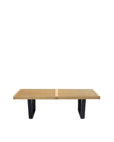 Euro Home Collection Slat Bench A, Maple/Black