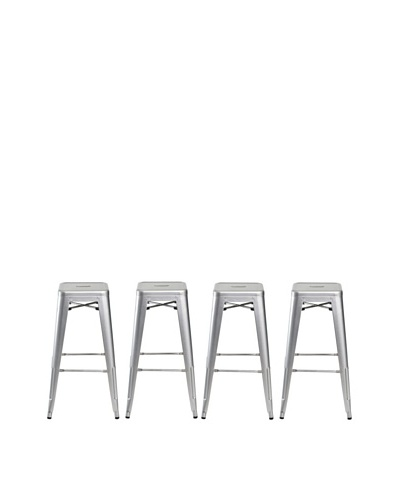 Euro Home Collection Set of 4 Galaxy Galvanized Barstools