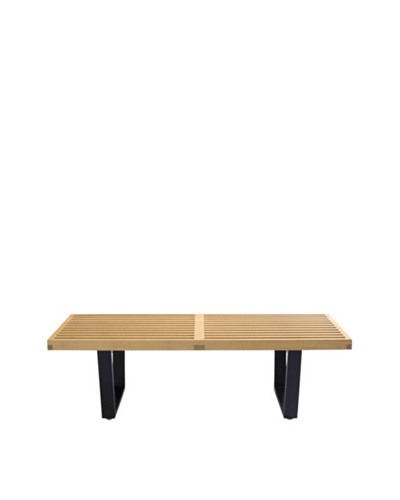Euro Home Collection Slat Bench B, Maple/Black