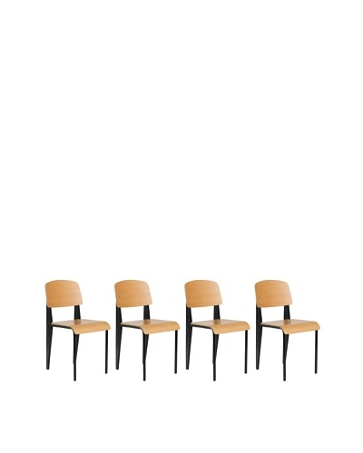 Euro Home Collection Set of 4 Sally Side Chairs, Black