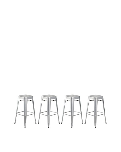 Euro Home Collection Set of 4 Galaxy Galvanized Steel Stools